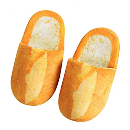 Autumn Slippers Warm Home Shoes Look Bread Bun Plush Cotton Unisex Home Slippers Creative Bread Shape Shoes Tongues