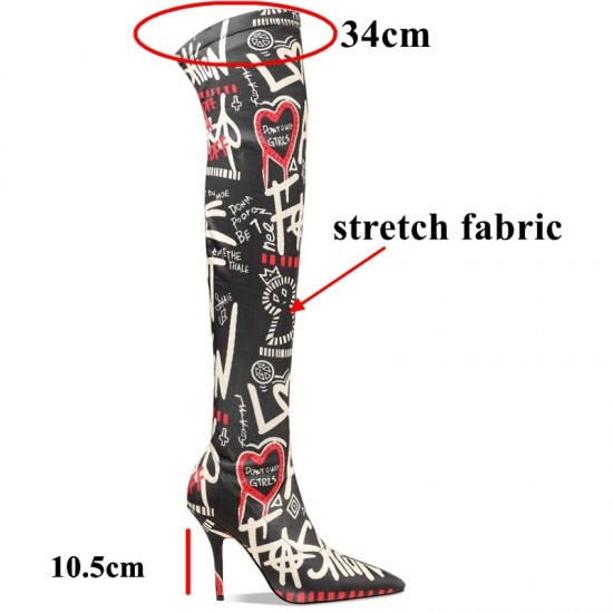 Autuspin Sexy Letter Printed Thigh Boots for Women Fashion Stretch Fabric Stilettos Boots Winter Runway Party Nightclub Shoes