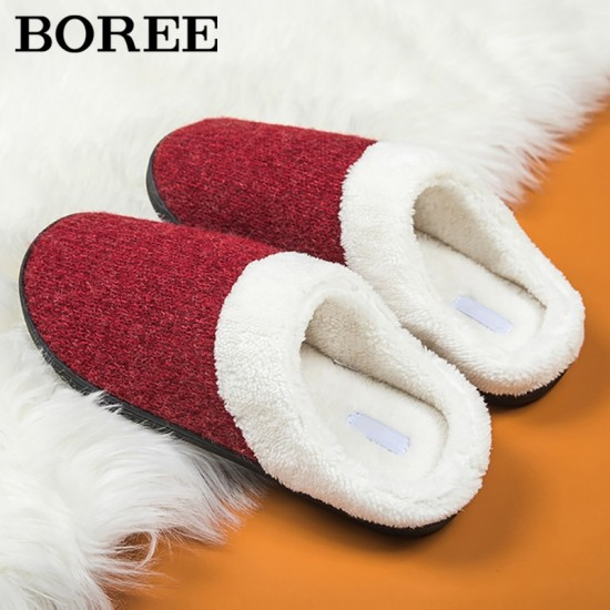 BOREE Women Indoor Slippers Soft Plush Lovers Home Slipper Anti-slip Big Size Warm Knitting Floor Shoes Ladies Bedroom Slides