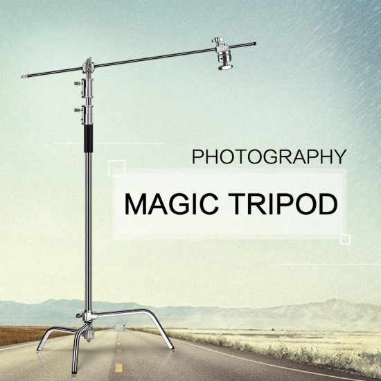 2.6M/8.5FT Stainless Steel Century Foldable Light Stand Tripod Magic Leg Photography C-Stand For Spot Light Softbox Photo Studio