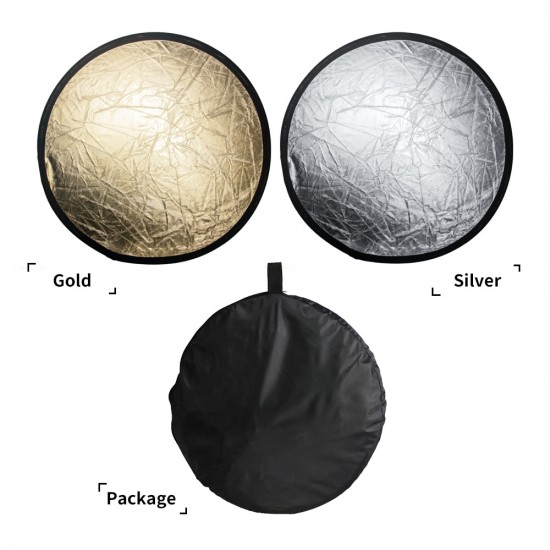 12 Inch 30cm 2 in 1 Portable Collapsible Light Round Photography White Siliver Reflector for Studio Multi Photo Disc Diffuers