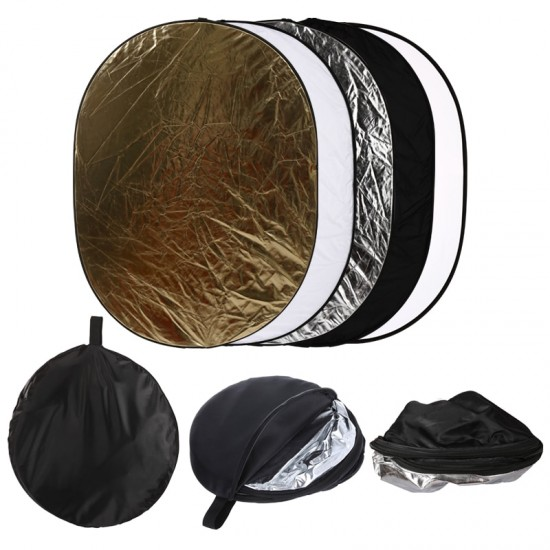 60x90cm 5 in 1 Multi Elliptical Reflector Collapsible Multi Disc Light Reflector for Studio Or Any Photography Situation