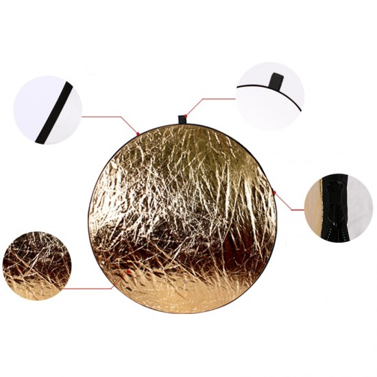 60cm 5in1 Round Reflector Flash Silver Gold Portable Collapsible Reflector for Studio Multi Photo Disc Diffuers