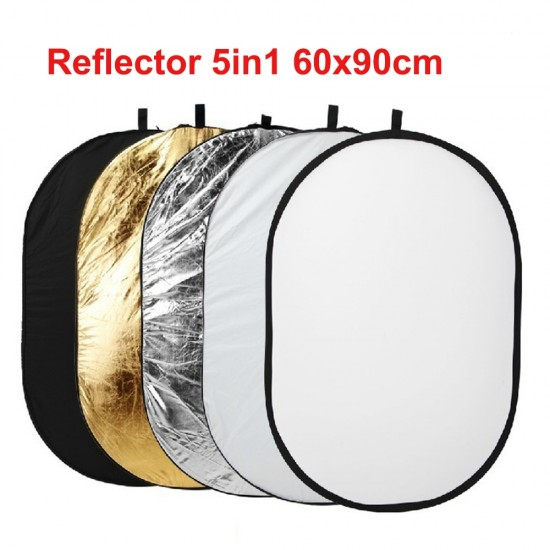 60x90cm 5 in 1 Multi Disc Photography Studio Photo Oval Collapsible Light Reflector Handhold Portable Photo Disc Reflector