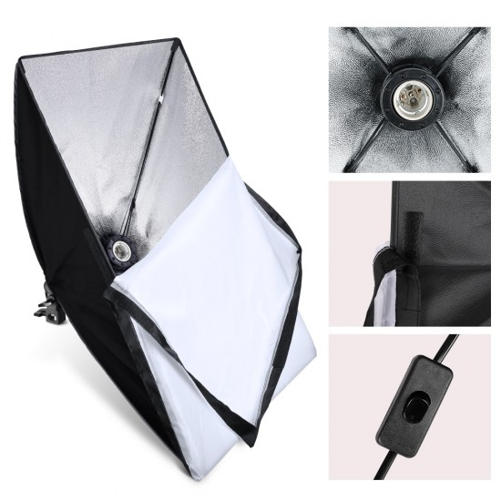 50cmx70cm Softbox Photography Lighting Kit Photo Studio Soft box with 2M Tripod Light Lamp Stand For Continuous Shooting Light