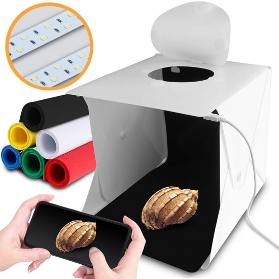 6 Backdrops Folding Mini Photography Lightbox Portable Photo Studio Box With Dual LED Strip Lights for Camera Tabletop Photos